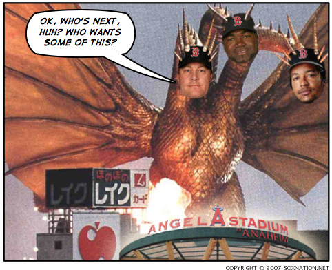Curt Schilling, Manny Ramirez, David Ortiz and the Boston Red Sox swept the Los Angeles Angels of Anaheim with a win in Game 3 of the 2007 ALDS.