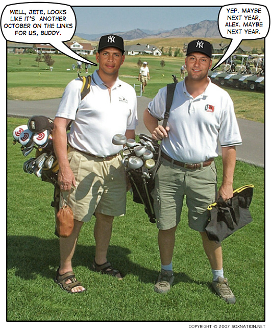 A-Rod and Jeter have plenty of time for golf now that the Yankees have been eliminated in the 2007 ALDS.