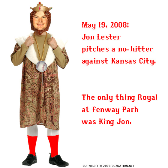 Boston Red Sox pitcher Jon Lester threw a no-hitter again the Kansas City Royals