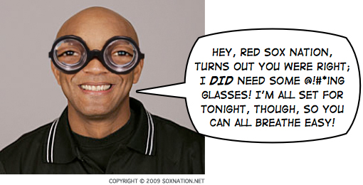 CB Bucknor gets some much-needed eyewear.