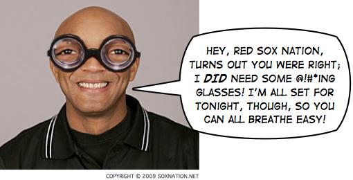 CB Bucknor gets some much-needed eyewear.